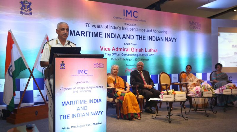 Vice Admiral Girish Luthra, addressing the gathering on 'Maritime India and Indian Navy'