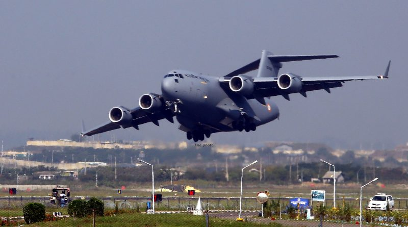 IAF C-17 Globemaster taking off from Air Force Station Srinagar during one of its many relief missions
