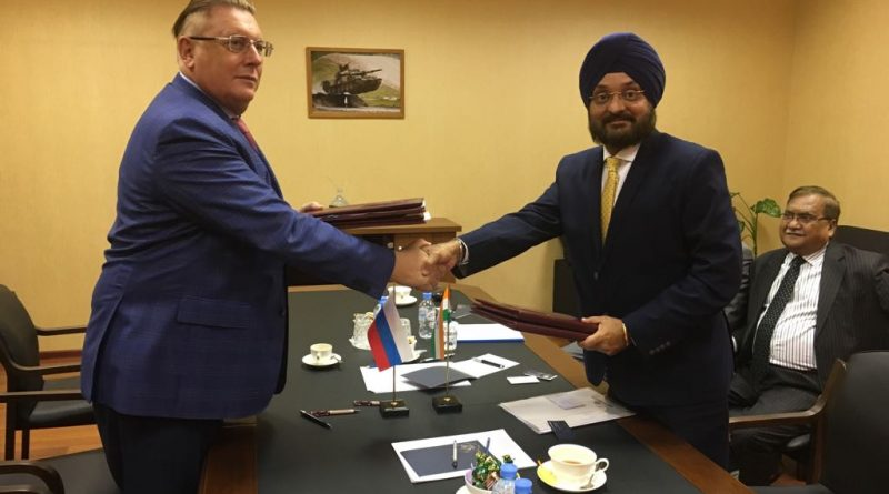 S S Goreslavskiy - Deputy Director General, Rosoboronexport with Mr Amandeep, Head of Defence, Ashok Leyland at the signing of MOU in Moscow