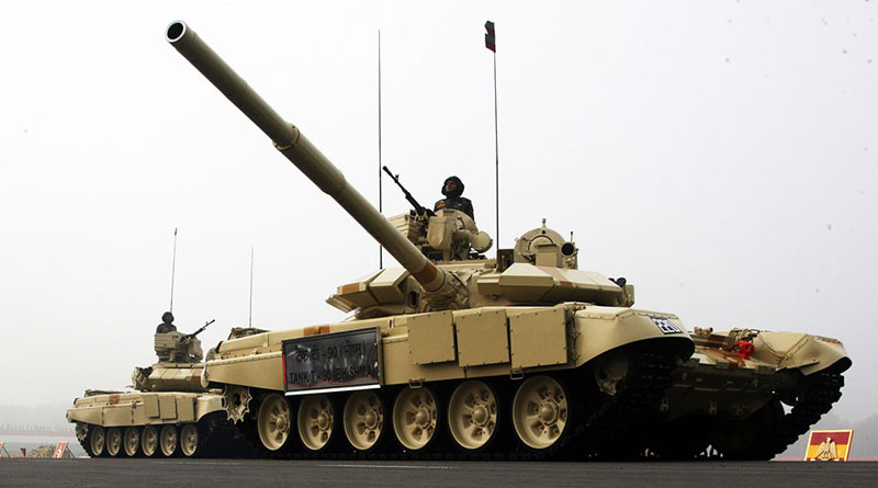 T-90 tank during army day parade on 15 jan
