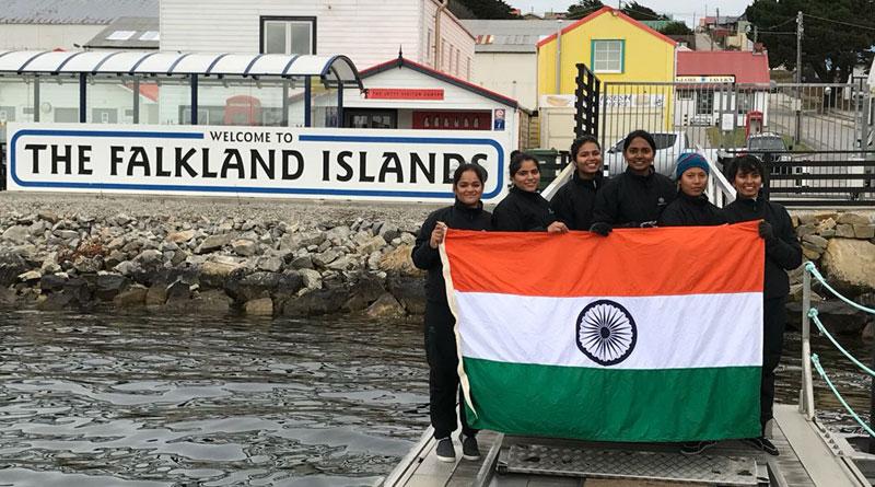 All Women Crew of INSV Tarini Enters Port Stanley