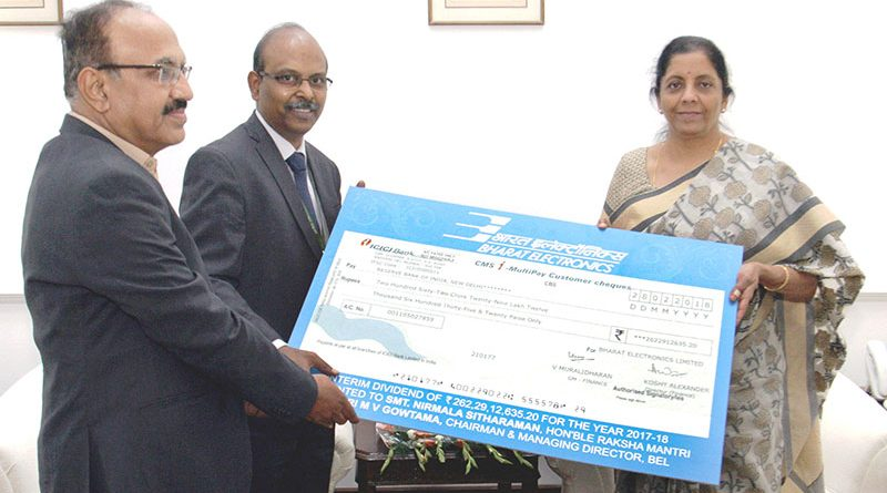 BEL pays Rs. 262 cr Interim Dividend to Govt