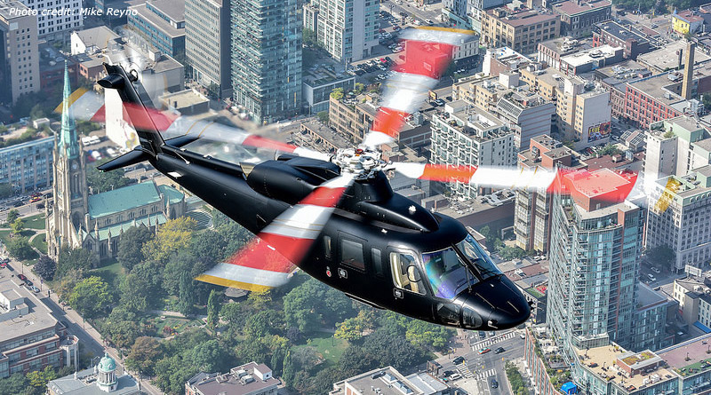 A Sikorsky S-76D™ executive transport helicopter has a range of 400 nautical miles and is fully customizable