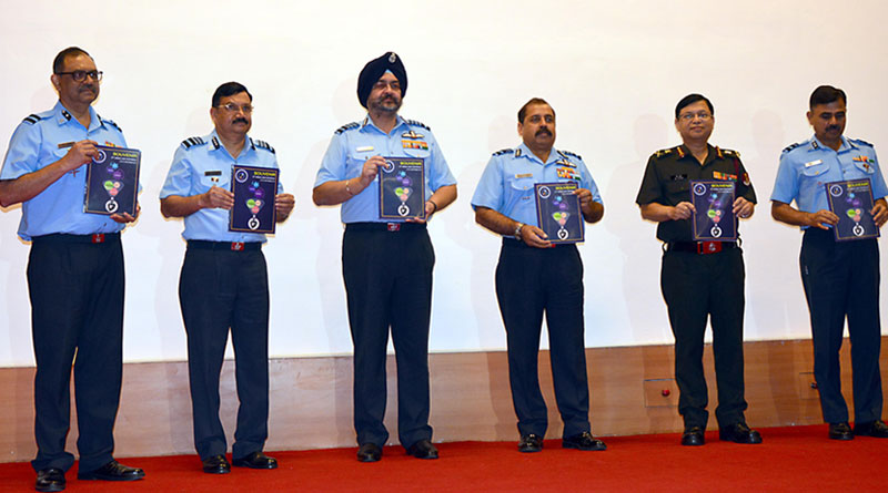 Air Chief Marshal BS Dhanoa, Chief of the Air Staff releasing a souvenir