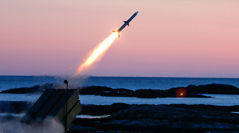 AMRAAM AIM-120C7 missile is fired from a NASAMS canister launcher