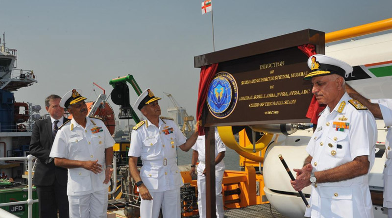 Admiral Sunil Lanba Chief of the Naval Staff unveiling the Induction plaque