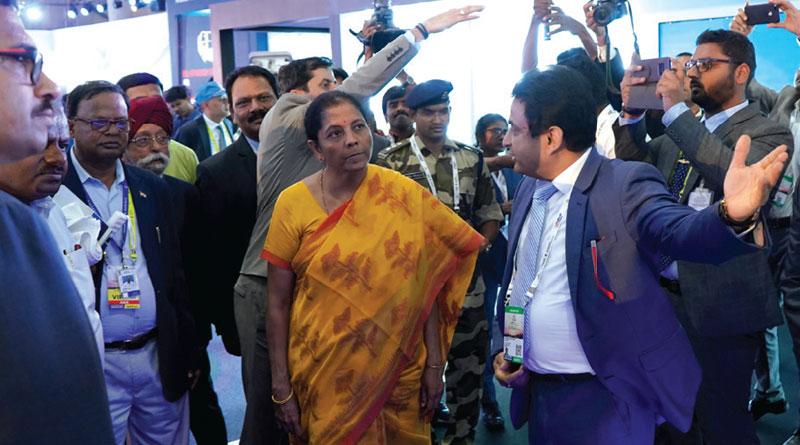 Defence minister Nirmala Sitharaman with Praveen Pathak of BrahMos Aerospace