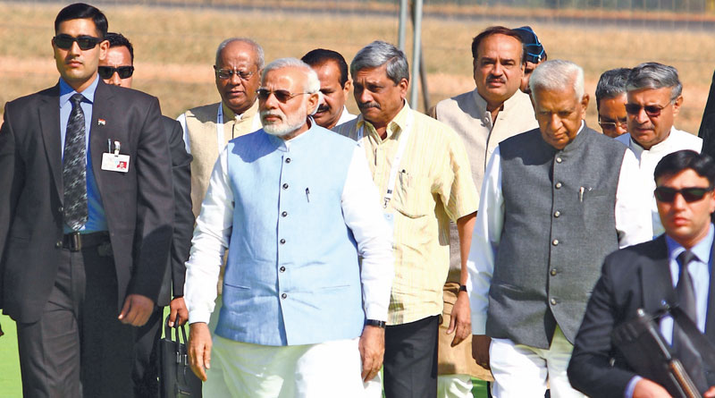 PM Narendra Modi with the then defence minister Manohar Parrikar at Aero India 2015
