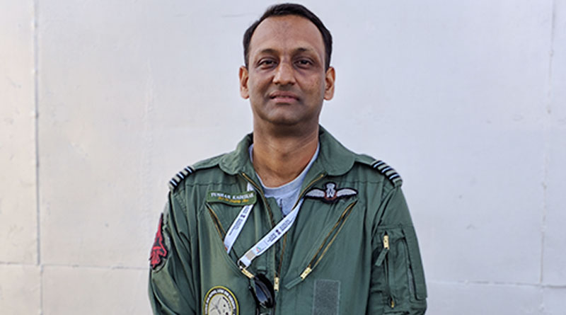 Su-30 MKI Display Pilot Wing Commander Tushar Kadushkar at Aero India 2019.
