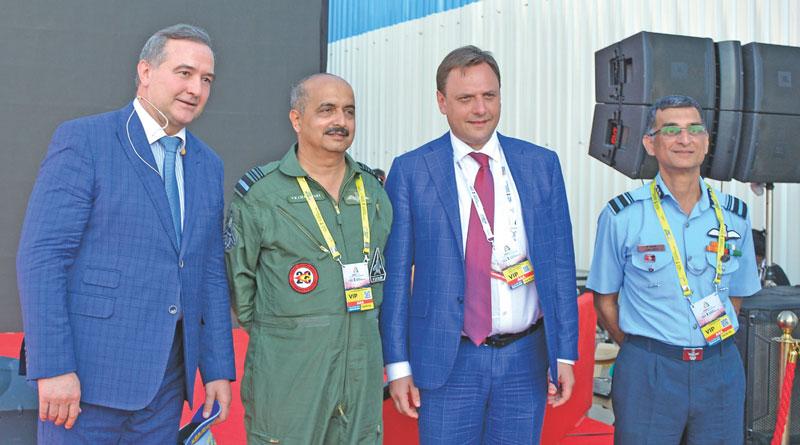 Victor Chernov and Ilya Tarasenko with IAF officials