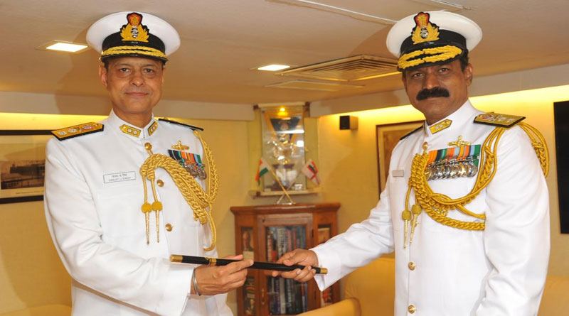 The traditional passing of baton between RAdm MA Hampiholi and RAdm Sanjay Jasjit Singh