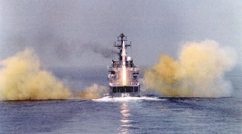 Prithvi on a surface ship (Dhanush)