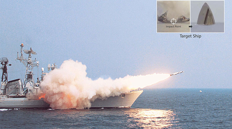 BrahMos' anti-ship version being fired from INS Rajput