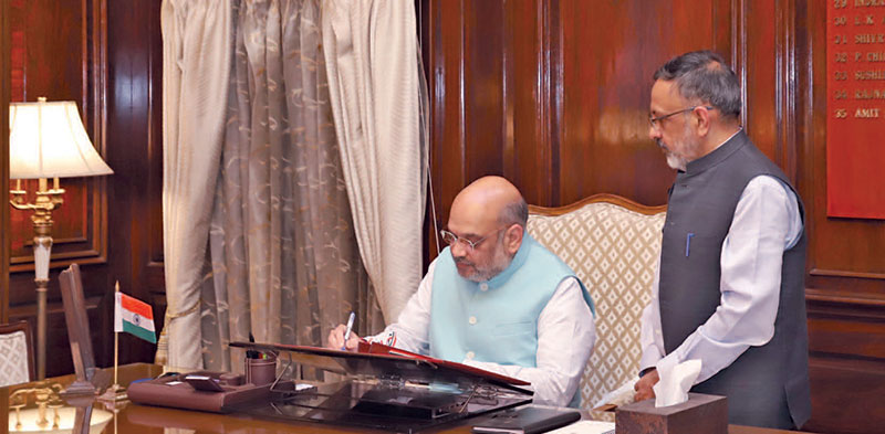 New home minister, Amit Shah, taking charge