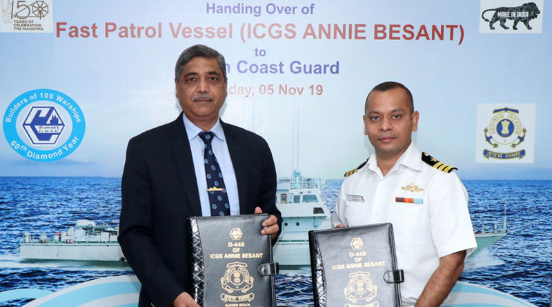 GRSE Delivers FPV, ICGS Annie Besant to Indian Coast Guard