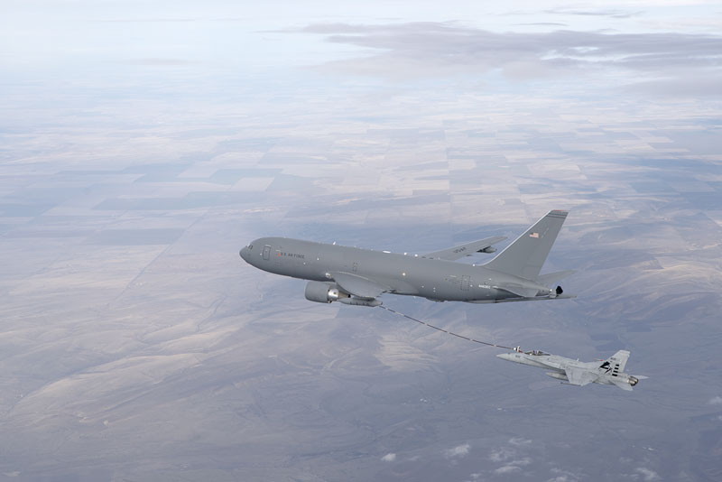 The KC-46A Pegasus provides in-flight refueling service