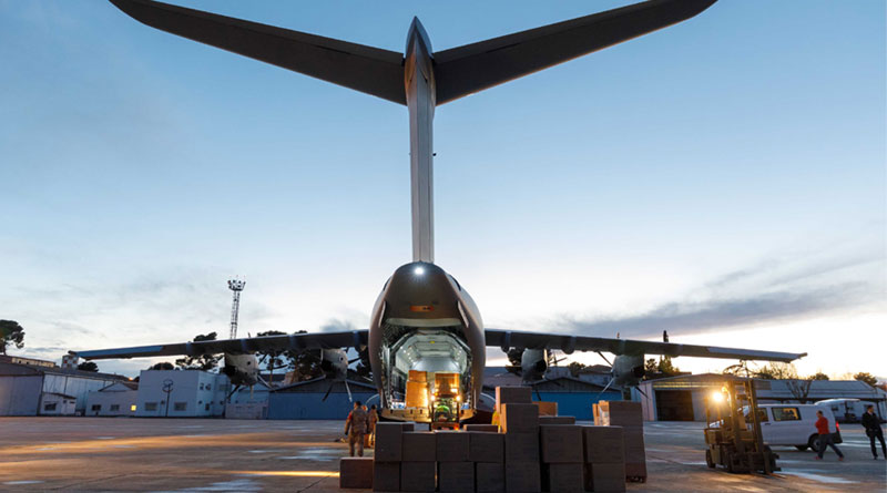 Airbus A400M Transports Masks to Spain in the Wake of COVID-19