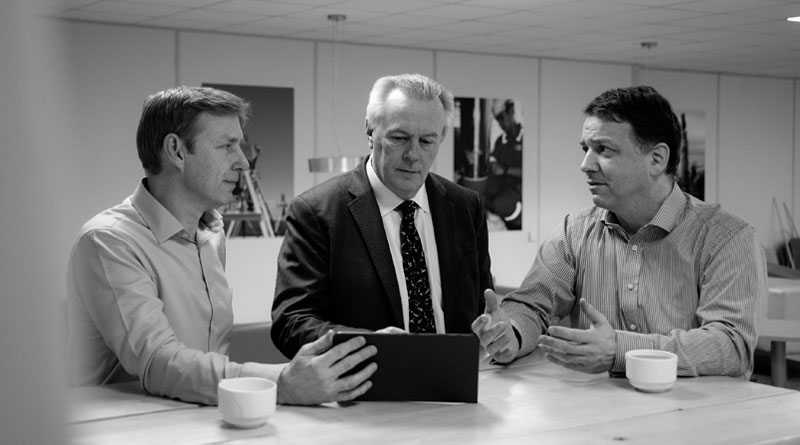 L-R, Simon Partridge, Group Chief Strategy Officer, John Ramsden, Group CEO, and Stephen Fasham, Group Chief Operating Officer