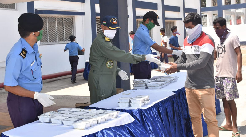 Indian Navy Distributes Food in Port Blair