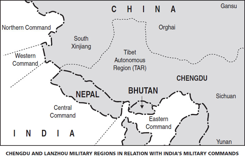 CHENGDU AND LANZHOU MILITARY REGIONS IN RELATION WITH INDIA'S MILITARY COMMANDS