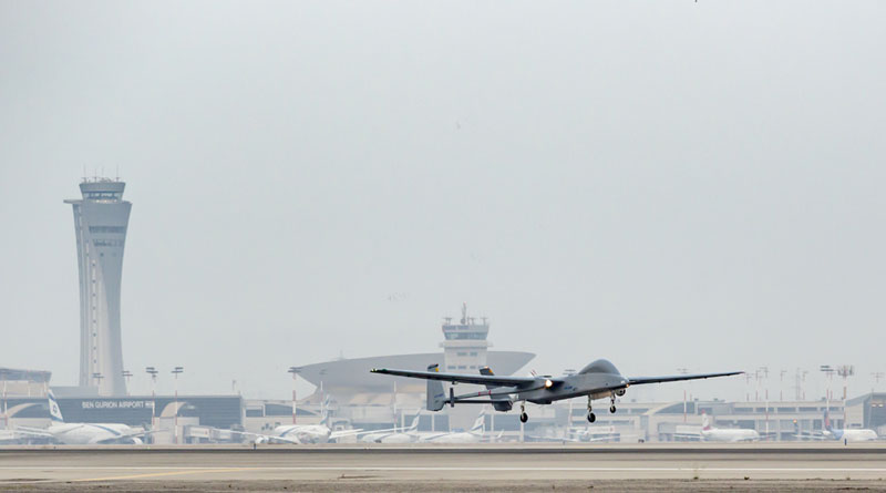 IAI's Remote-Controlled Heron UAV Lands at the Gurion Airport
