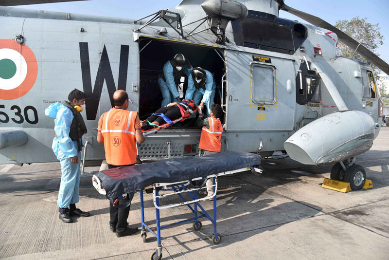 Indian Navy Undertakes MEDEVAC From Merchant Ship