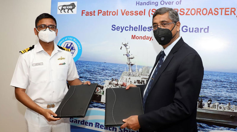 GRSE Delivers One Fast Patrol Vessel to Seychelles