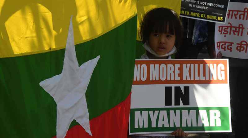 Amid Tensions in Myanmar, Refugees Residing in India Stage Protest