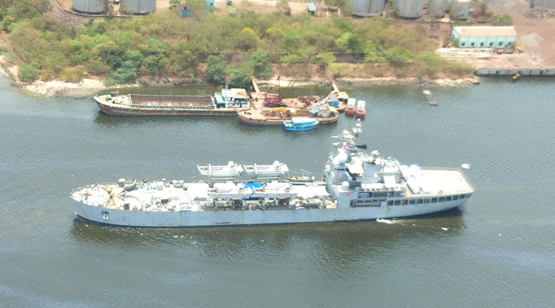 INS Airavat Arrives in Visakhapatnam with Medical Necessities from Singapore