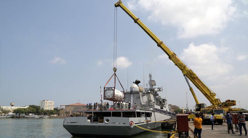 INS Trikand Arrives at Mumbai as Part of Op Samudra Setu II