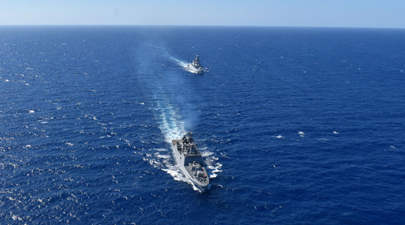 INS Tabar Exercises with Italian Navy Off Naples