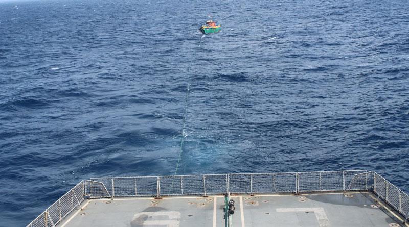 INS Airavat Tows Fishing Vessel