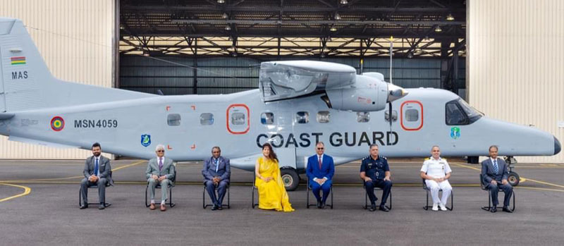 An official ceremony was conducted at Maritime Air Squadron of National Coast Guard, Mauritius, on 13 September for handing over of the Passenger Variant Dornier (PVD)
